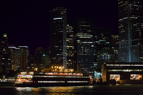 Staten Island Ferry arriving at night